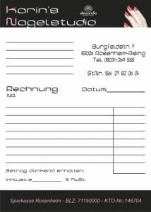 Karins Nagelstudio - Rechnungsblock